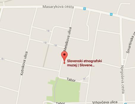 Zemljevid Metelkove ulice in Tabora prikazuje kje se nahaja muzej